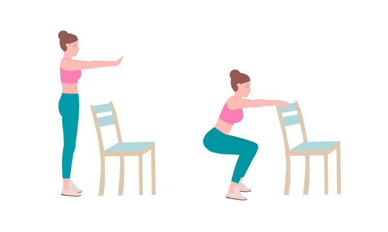 squat vein exercise, squat exercises that can be done at home with chair